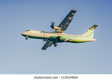 GRAN CANARIA, SPAIN. FEBRUARY 17th, 2018 - Las Palmas Airport, Gran Canaria, Spain. Binter Canarias ATR72-600 flying approaching airport.