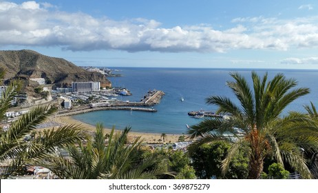 Gran Canaria, Spain - Jan 22, 2016 : Puerto Rico Beach. Beautiful View from the hill of Puerto Rico, Gran Canaria island.