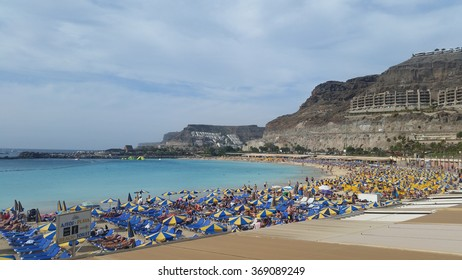 Gran Canaria, Spain - Jan 24, 2016 : Beautiful jade color sea water of Amadores beach.