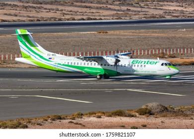 Gran Canaria, Spain - November 24, 2019: Binter Canarias ATR 72-600 airplane at Gran Canaria airport (LPA) in Spain.