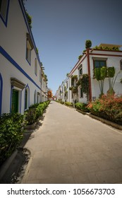Gran Canaria a spanish island in europe spain. Puerto de Mogan picturesque harbor city on vacation. colorful houses on sea port for travel in spain