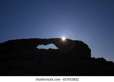 Gran Canaria,  stone arch La Ventana del Nublo, evening light