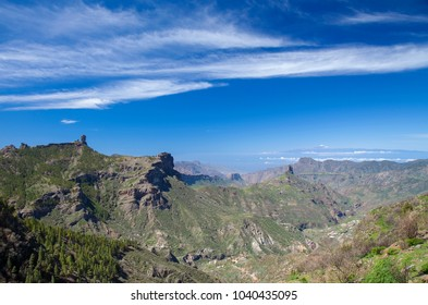 Gran Canaria, view across Caldera de Tejeda; Roque Nublo left, Roque Bentayga center, Teide on Tenerife right