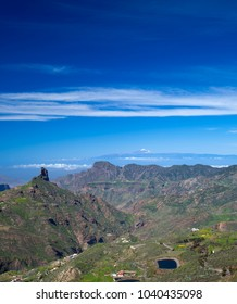 Gran Canaria, view across Caldera de Tejeda;  Roque Bentaygato the left, Teide on Tenerife visible over Altavista Mountain, snow on the north slope