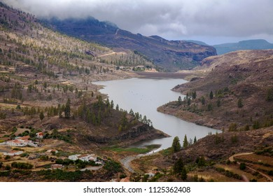 Gran Canaria, view towards Chira reservoir, one of the three biggest fresh water reseroirs on the island