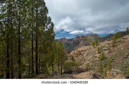 Gran Canaria, view west from a hiking path towards Teide on Tenerife; north slope of Teide still has snow, Roque Nublo to the right