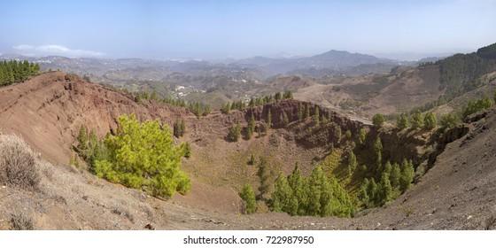 Gran Canaria, volcanic caldera Caldera De Los Pinos, panorama