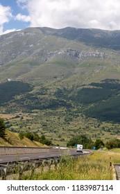 Gran Sasso, Italy - June 17, 2017: View of Gran Sasso mountain in Abruzzo region Italy