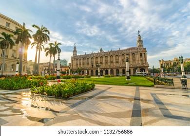 Gran Teatro de La Habana (Great Theatre of Havana Alicia Alonso) and El Capitolio (National Capitol Building), Havana, Cuba.