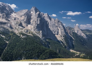 Gran Vernel and Colac mountain summits in Marmolada massif as seen from the trekking trail 601 from Porta Vescovo cable car station to Viel del Pan refuge, Dolomites, Trentino, South Tyrol, Italy