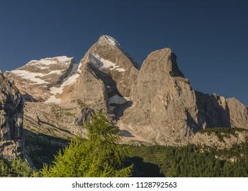 Gran Vernel summit as seen from Rifugio Marmolada, Marmolada group, Dolomites, Trentino-Alto Adige, Trento, South Tirol, Italy