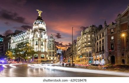 Gran Via Street in Madrid, Spain, after sunset