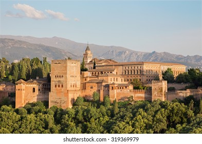 Granada - The Alhambra palace and fortness complex in evening light.