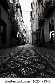Granada, Andalusia, Spain 09-02-2018 Cobbled Street View