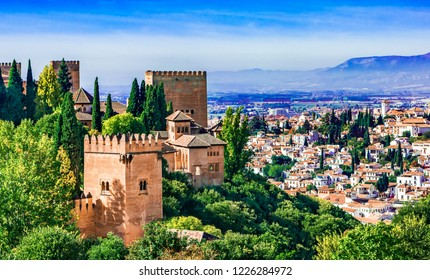 Granada, Andalusia,Spain Europe - Panoramic view of Alhambra