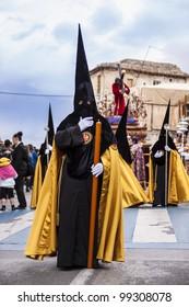 GRANADA - APRIL 21:  The distinctive cloaks and hoods (capirotes) of the extraordinarily Christian procession of the Semana Santa (Holy Week). April 21, 2011 in Granada (Spain).