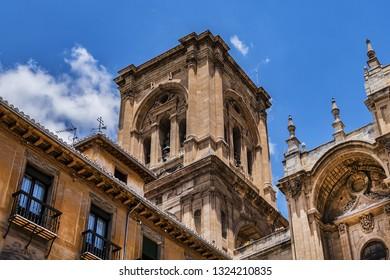 Granada Cathedral or Cathedral of Incarnation (Catedral de Granada, Santa Iglesia Catedral Metropolitana de la Encarnacion de Granada, 1561) - Roman Catholic church in Granada city. Andalusia, Spain.