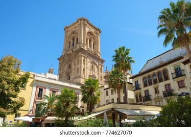 Granada Cathedral overlooks a Plaza, Granada, Spain