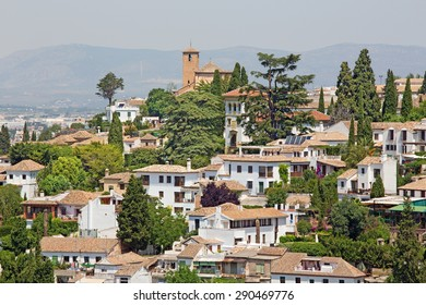 Granada - The look to The Albayzin district and Saint Crostobal church from Alhambra fortress.