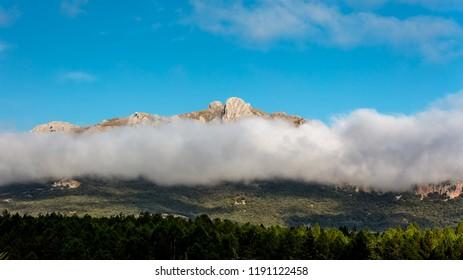 Granada mountains in fog