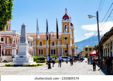 GRANADA, NICARAGUA - FEB 3, 2018: Cathedral in Granada, Nicaragua