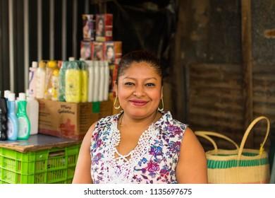 Granada, Nicaragua. February 8, 2018. A local food vendor in Granada, Nicaragua