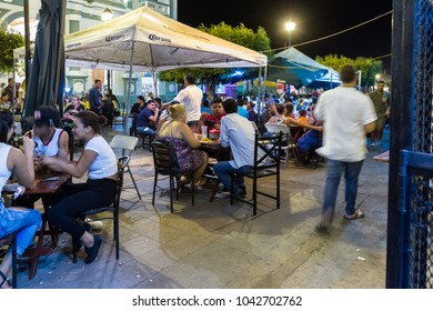 Granada, Nicaragua - January 20: Gastronomic street in Nicaragua with lots of tourists and locals enjoying fine food outdoors. January 20 2018, Granada, Nicaragua