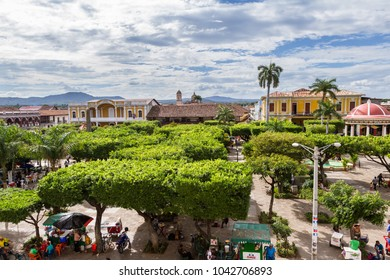 Granada, Nicaragua - January 20: View of the park from the bell tower of the Cathedral. January 20 2018, Granada, Nicaragua