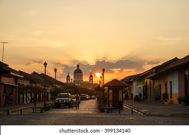 Granada, Nicaragua - March 21, 2016:  La Calzada street view at afternoon. Travel imagery for Nicaragua