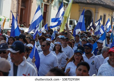 Granada, Nicaragua - May 29, 2018: many people on the streets during protest in nicaragua