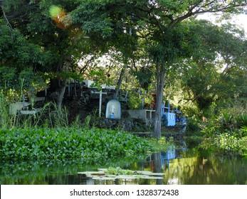 Granada, Nicaragua - November 6 2018: A small cemetery on island, lake Nicaragua.