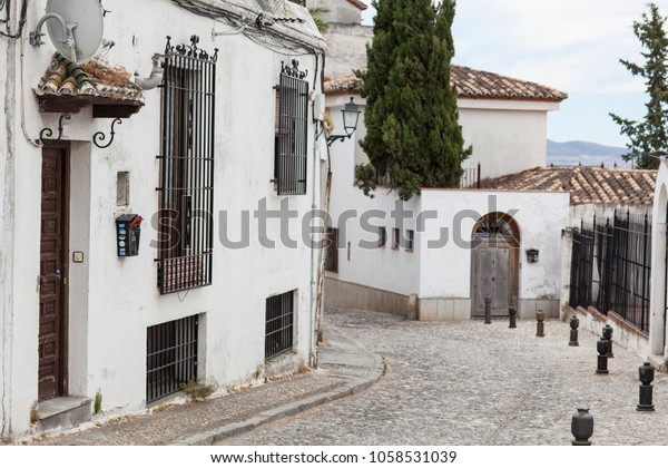 Granada old town with narrow streets and white buildings, Andalusia, Spain.
