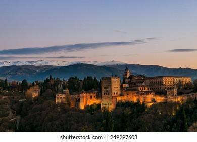 Granada España. Panoramic view of Alhambra in Granada, Andalucia, Spain.