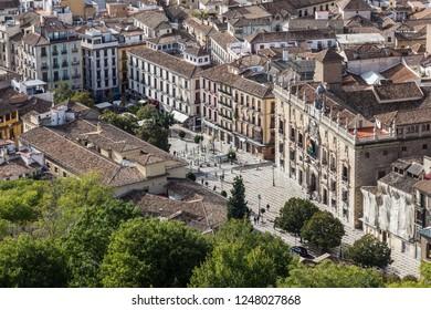 Granada. Plaza nueva (new square) from old castle Alcazaba in Alhambra
