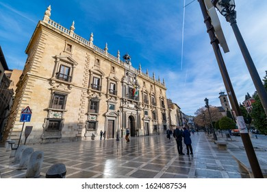 Granada, Spain, 02/16/2019; view of the New Square of Granada, too Santa Ana Square. View of the Superior Court of Andalusia.