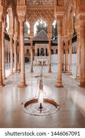 Granada, Spain - 08/28/2018: Alhambra palace in Granada, Spain.