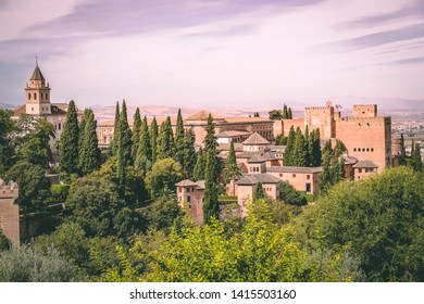 Granada, Spain - 09 13 2015: An overview over a part of the Alhambra