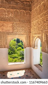 GRANADA, SPAIN - 14 MAY, 2018: Interior of Generalife in Granada, Spain on 14 May 2018. It is a palace and fortress complex located in Granada. It was originally constructed in 889.