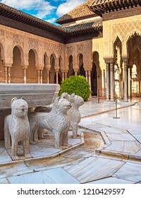 GRANADA, SPAIN - 14 MAY, 2018: The famous Lion Fountain in Alhambra palace in Granada, Spain on 14 May 2018. It is a palace and fortress complex located in Granada.
