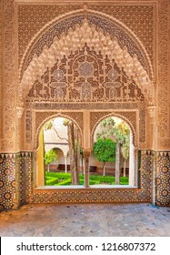 GRANADA, SPAIN - 14 MAY, 2018: Detail of the Alhambra Palace in Granada, Spain on 14 May 2018. It is a palace and fortress complex located in Granada.