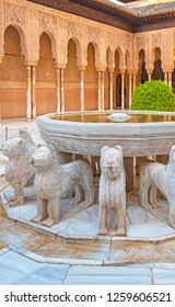 GRANADA, SPAIN - 14 MAY, 2018: The famous Lion Fountain in Alhambra palace in Granada, Spain on 14 May 2018. It is a palace and fortress complex located in Granada