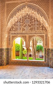 GRANADA, SPAIN - 14 MAY, 2018: Detail of the Alhambra Palace in Granada, Spain on 14 May 2018. It is a palace and fortress complex located in Granada