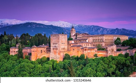 GRANADA, SPAIN - 14 MAY, 2018: Famous Alhambra in sunset in Granada, Spain on 14 May, 2018.