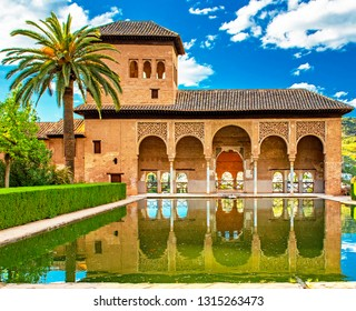 GRANADA, SPAIN - 14 MAY, 2018: Palace in the famous Alhambra in Granada, Spain on 14 May 2018. It is a palace and fortress complex located in Granada
