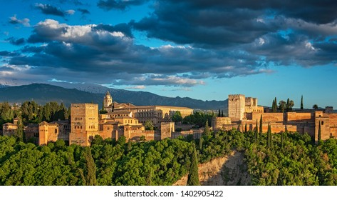GRANADA, SPAIN - 14 MAY, 2018: Famous Alhambra in Granada, Spain on 14 May, 2018