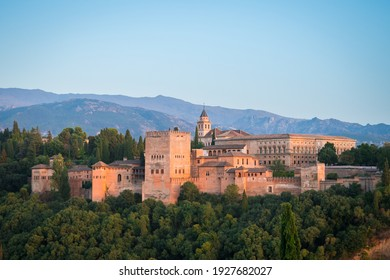 granada, Spain. 19th august, 2020: views of the alhambra palace in granada, Spain