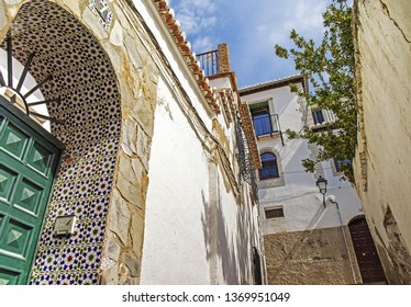 GRANADA, SPAIN - 30 March 2019: Cozy corners of Albaicin neighbourhood in Granada