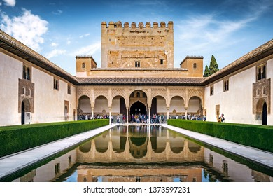 GRANADA, SPAIN - 30 March 2019: Nasrid palace of the Alhambra complex of Granada, Spain