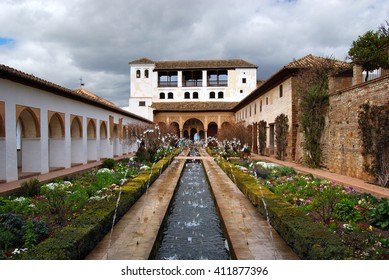 GRANADA, SPAIN - APRIL 11, 2016:Generalife Palace and Gardens, Granada, Spain. The Court of the Main Canal.