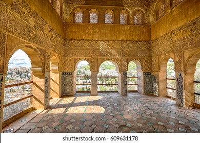 Granada, Spain - April 17, 2016: Archways in Palacio de Generalife at Alhambra di Granada,  Andalusia, Spain. This site is known as one of the most beautiful in the world and is a Unesco heritage.